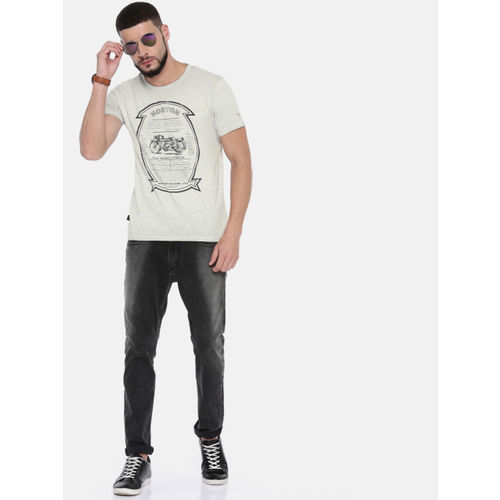 Pepe Jeans Men Grey Printed Round Neck T-shirt