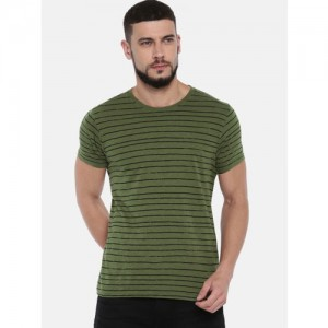 Pepe Jeans Men Olive Green & Black Striped Round Neck T-shirt
