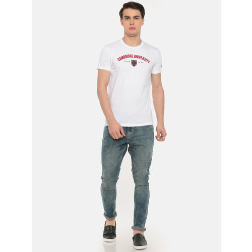 Pepe Jeans Men White Printed Round Neck T-shirt