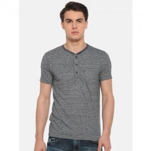 Pepe Jeans Men Navy Striped Henley Neck T-shirt