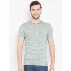 Pepe Jeans Men Green & White Striped Henley Neck T-shirt
