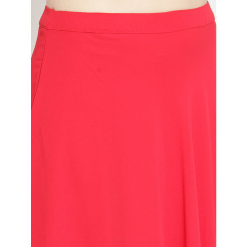 Just Wow Women Red Solid Flared Maxi Skirt