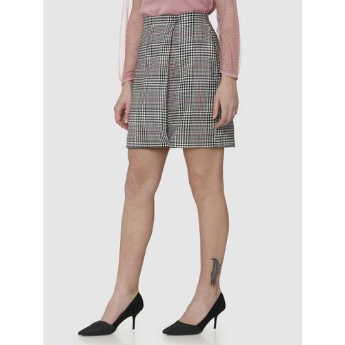 Vero Moda White & Black Polyester Checked Pencil Mini Skirt