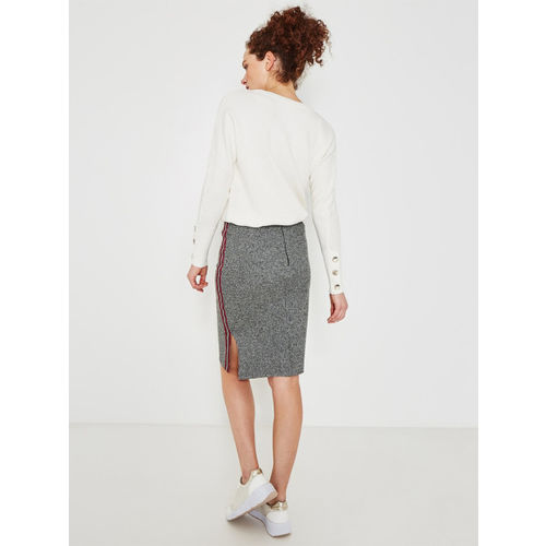promod Women Grey Self-Design Knitted Pencil Skirt
