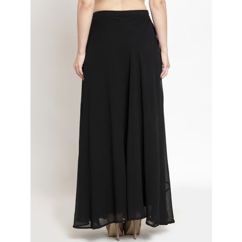 Just Wow Women Black Solid Flared Maxi Skirt