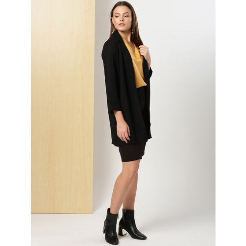 her by invictus Black Solid Straight Mini Skirt