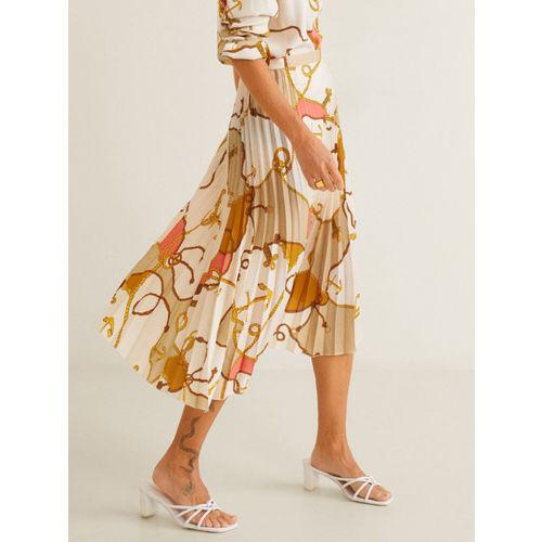 MANGO Women Off-White Printed Accordion Pleats Midi A-Line Skirt