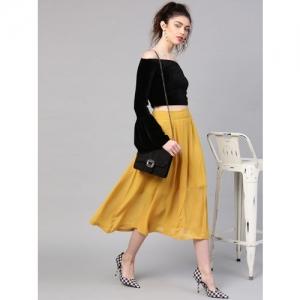 SASSAFRAS Mustard Yellow Polyester Solid A-Line Skirt