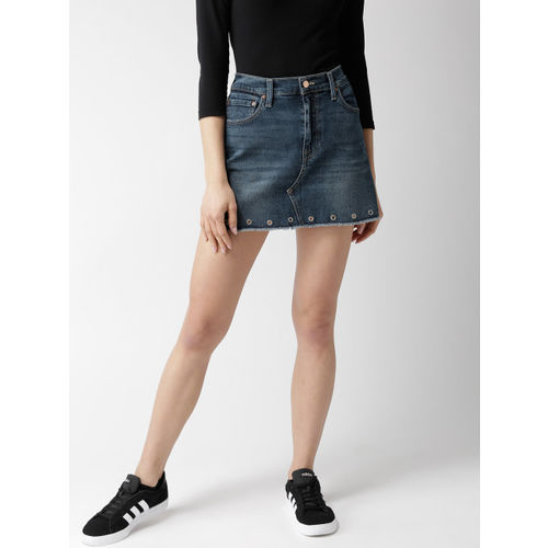 Levis Women Blue Washed Denim Mini A-Line Skirt 5063