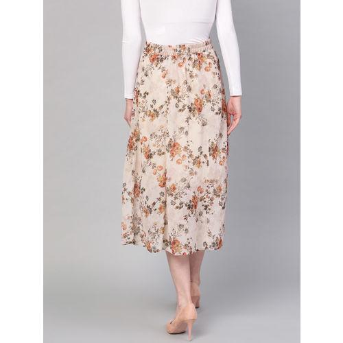 SASSAFRAS Women Beige & Orange Printed A-Line Skirt