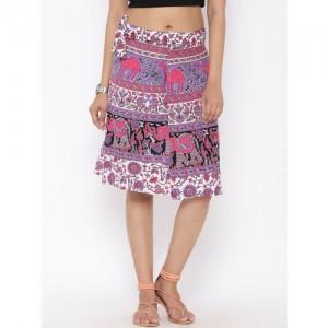 SOUNDARYA Women White & Purple Ethnic Print Wrap-Around Skirt