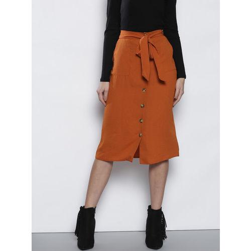 DOROTHY PERKINS Women Rust Orange Solid A-Line Skirt