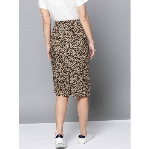 Besiva Women Beige & Black Leopard Print Pencil Skirt