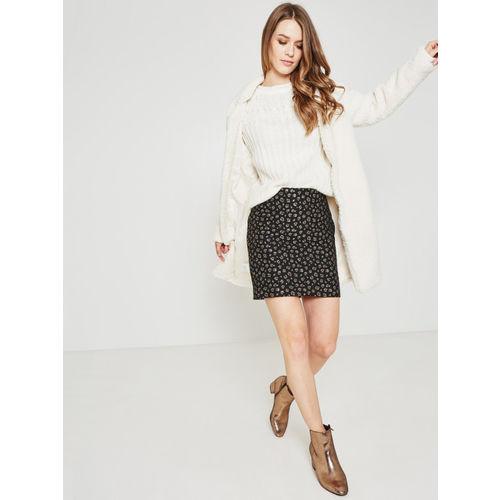 promod Women Black Self-Design Mini Skirt
