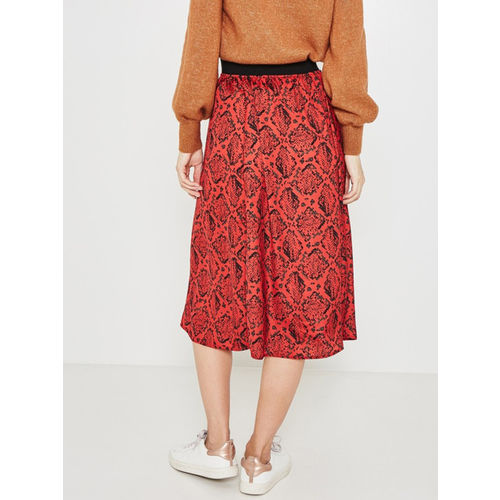 promod Women Red Printed Flared Skirt