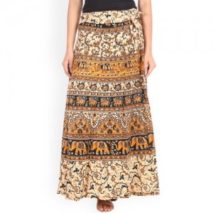 SOUNDARYA Women Brown Ethnic Print Wrap-Around Maxi Skirt