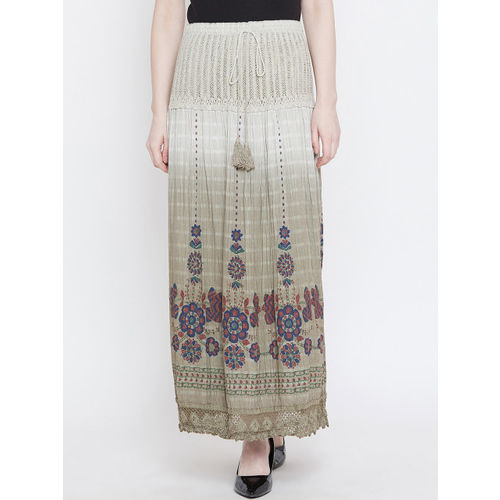 Camey Women Beige Printed Straight Maxi Skirt
