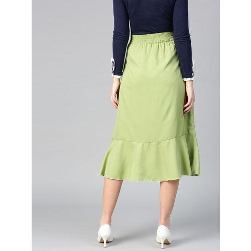 Bitterlime Women Green Solid Midi A-Line Skirt