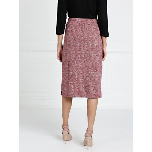 all about you from Deepika Padukone Maroon Knitted Solid Straight Skirt