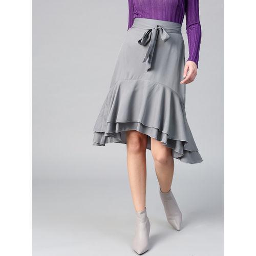 Bitterlime Women Grey Layered Ruffled A-line Skirt