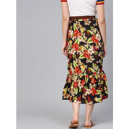 aasi Women Multicoloured Floral Print A-Line Skirt