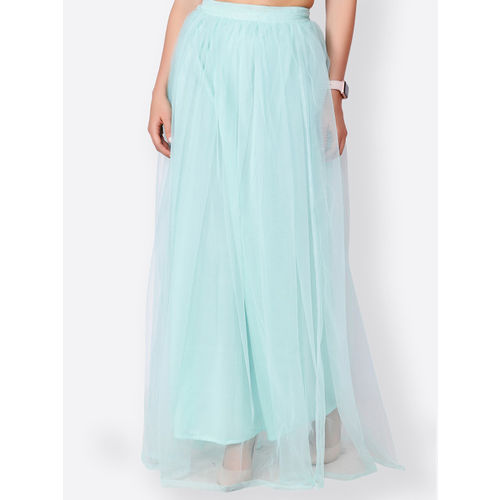 SCORPIUS Women Blue Solid Flared Maxi Skirt