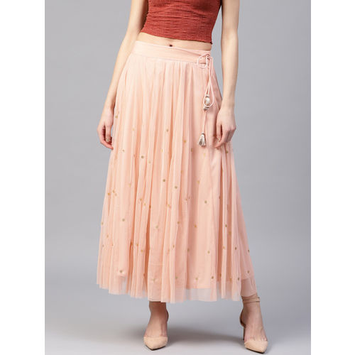 W Women Peach-Coloured Net Embellished Maxi Flared Skirt