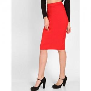 StalkBuyLove Women Red Solid Pencil Skirt