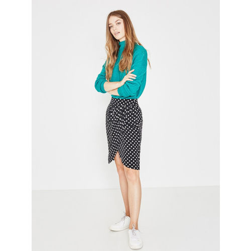 promod Women Black & White Printed Wrap Skirt