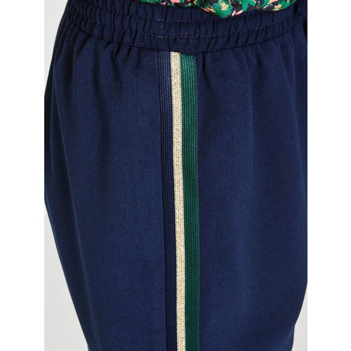 promod Women Navy Blue Solid Sheer Paneled Skirt