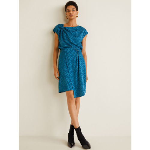 MANGO Women Blue Self-Design Layered Pencil Skirt