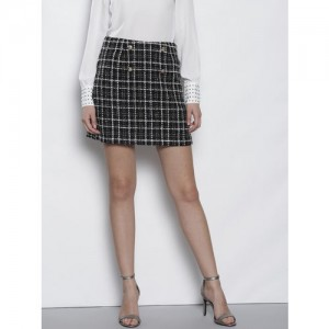 DOROTHY PERKINS Women Petite Black & White Self Checked A-Line Mini Skirt