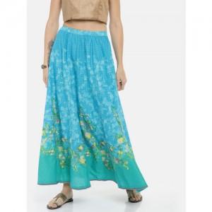 Biba Women Blue Floral Printed Flared Maxi Skirt