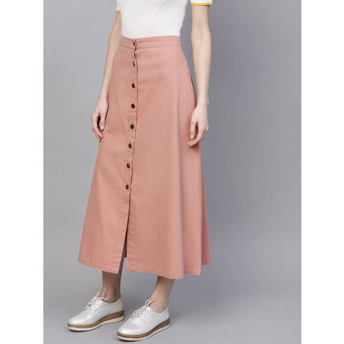 SASSAFRAS Dusty Pink Cotton Solid Midi A-Line Skirt
