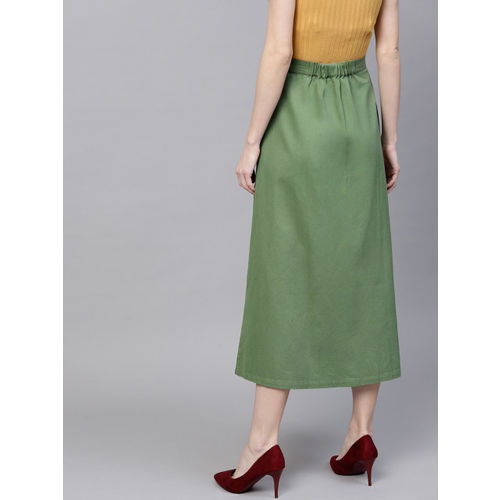 SASSAFRAS Women Olive Green Solid Midi A-Line Skirt