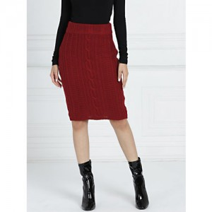 all about you By Deepika Padukone Women Maroon Self Design Pensil Skirt