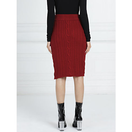 all about you By Deepika Padukone Women Maroon Self Design Pensil Skirt