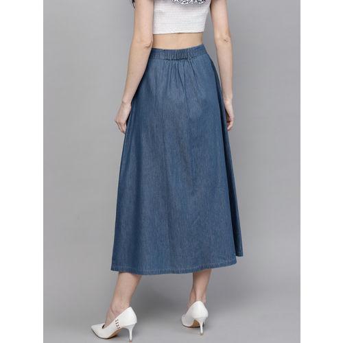 SASSAFRAS Women Blue Denim Solid Midi A-Line Skirt