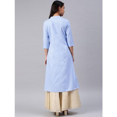 Alena Women Blue Embroidered Straight Kurta