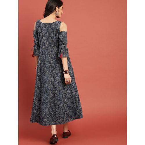 Taavi Women Blue & Black Block Print Legacy A-Line Panelled Cold-Shoulder Fusion Kurta