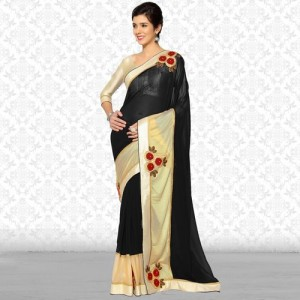 87f8382d35 Divastri Embroidered Bollywood Synthetic Georgette, Lycra Saree(Black)