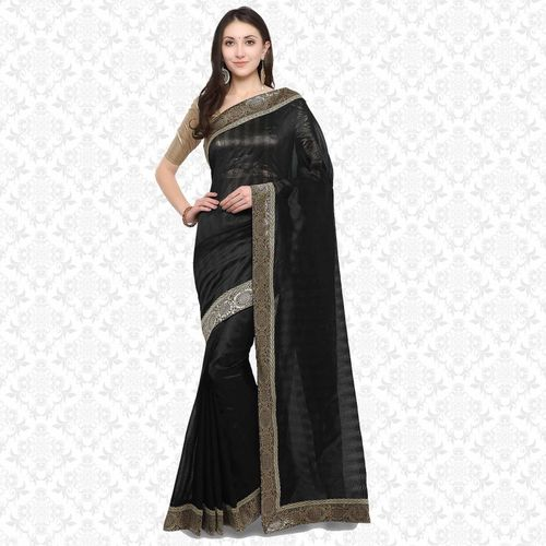 Divastri Self Design Bollywood Banarasi Silk Saree(Black)
