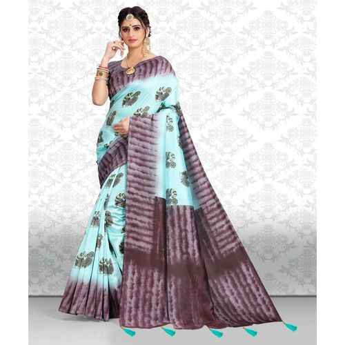 Divastri Animal Print Fashion Khadi Saree(Light Blue)