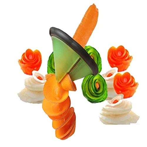 HI5 Green Vegetable Carving Knife Roller Flower Melon Shaving Planer Cutter