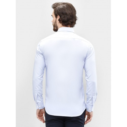 The Style Of Kartik Aryan Blue Cotton Solid Slim Fit Casual Shirt