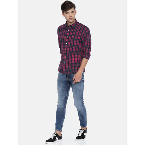 Arrow Sport Men Navy & Pink Slim Fit Checked Casual Shirt