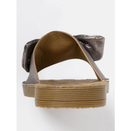 DressBerry Women Bronze-Toned Solid Comfort Open Toe Flats
