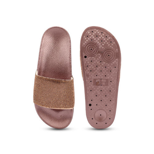 Truffle Collection Women Copper-Toned Solid Synthetic Open Toe Flats