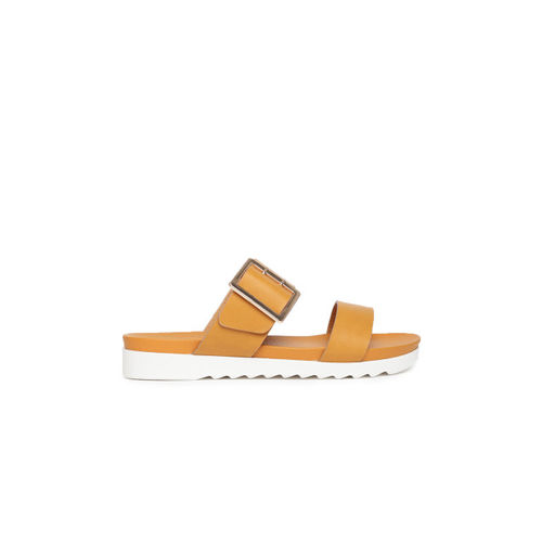 Ginger by Lifestyle Women Mustard Solid Open Toe Flats