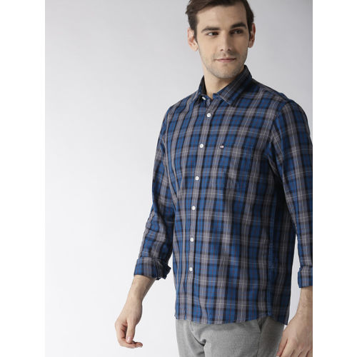 Arrow Sport Men Blue & Charcoal Grey Slim Fit Checked Casual Shirt